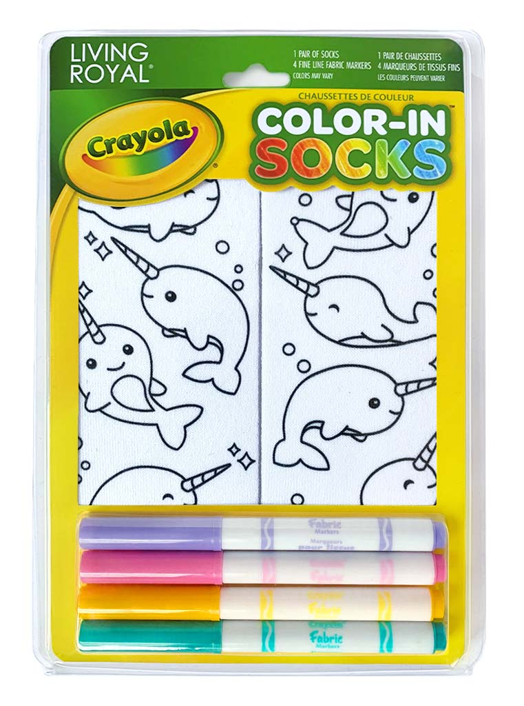 Color-In Socks Narwhal Fun