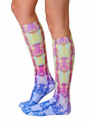 Neon Tiger Knee High Socks