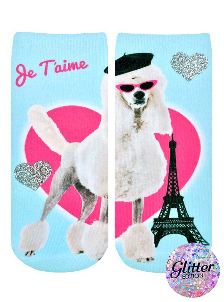 Paris Poodle Ankle Socks