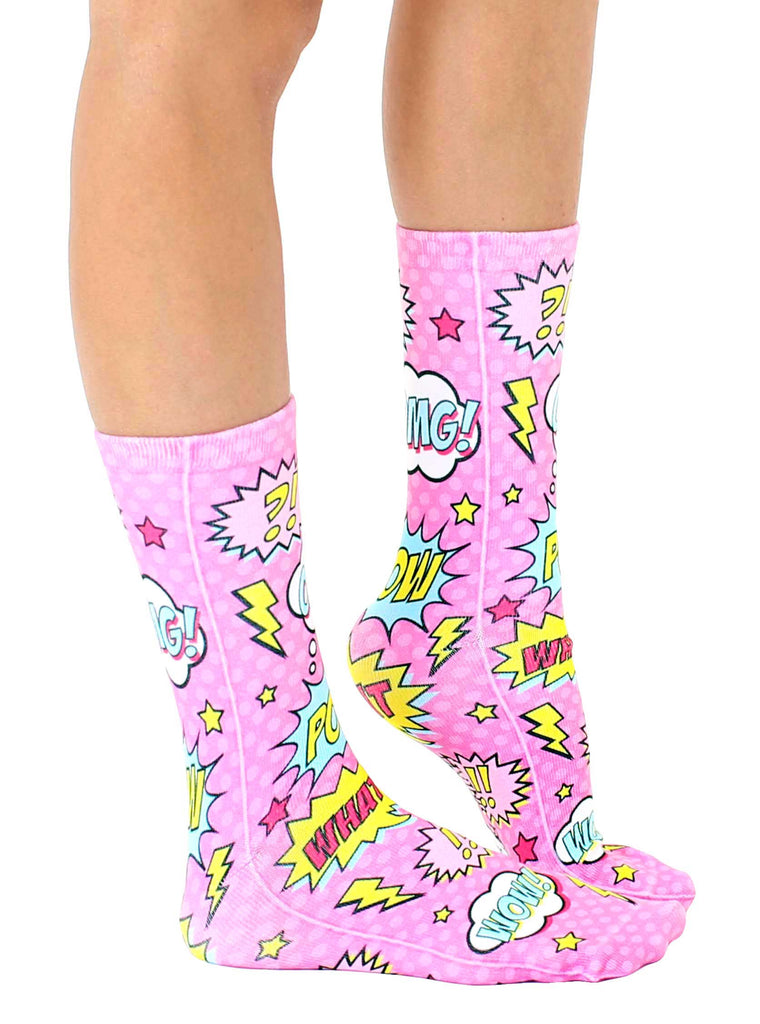 Pink Comic Crew Socks