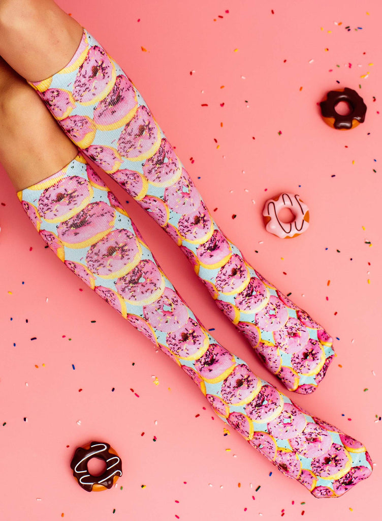 Pink Donuts Knee High Socks