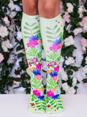 Pressed Flowers Knee High Socks