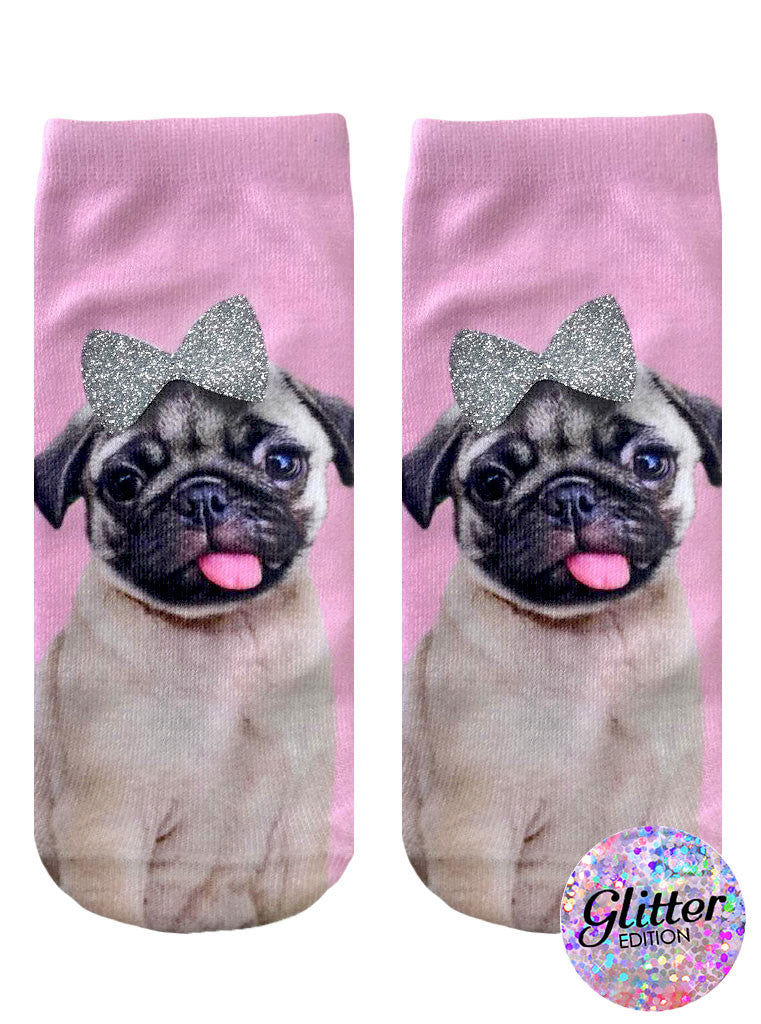 Pug With Bow Ankle Socks