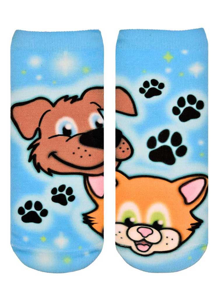 Puppy Kitty Airbrush Ankle Socks