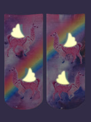Rainbow Llamas Ankle Socks