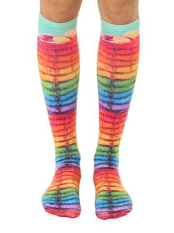 Rainbow Pancakes Knee High Socks