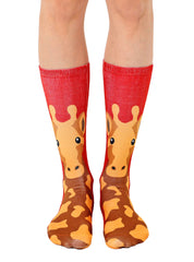 Red Giraffe Crew Socks