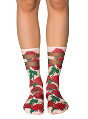 Red Roses Mesh Socks