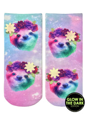 Sloth Floral Ankle Socks