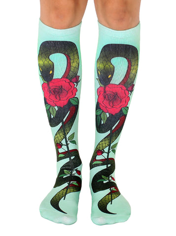 Snake With Rose Knee High Socks