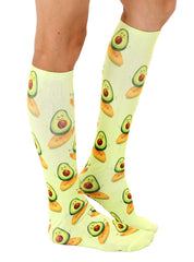 Surfing Avocado Knee High Socks