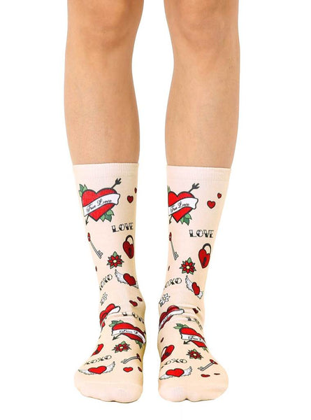 Love Tattoo Crew Socks