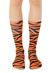Tiger Print Crew Socks