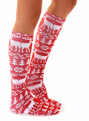 Ugly Sweater Moose Knee High Socks