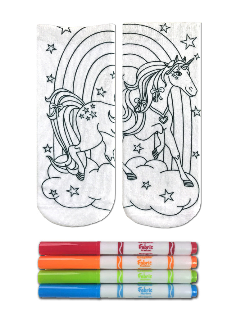 Color-In Socks Unicorn Land