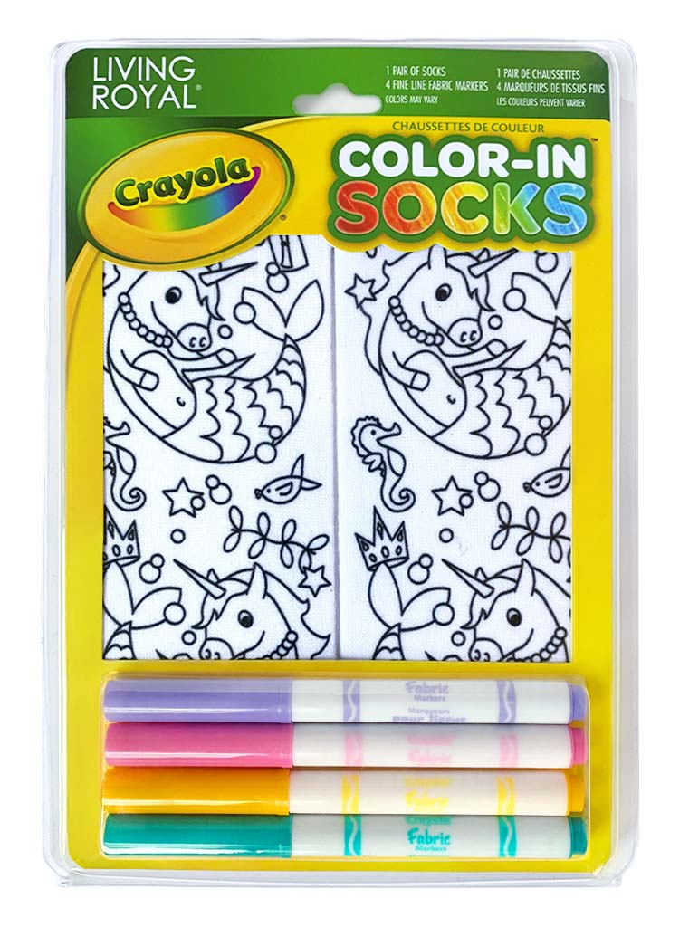 Color-In Socks Unicorn Mermaid