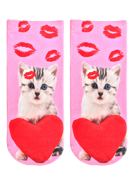 Vday Kitty Ankle Socks