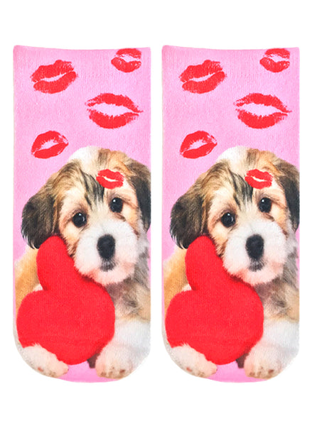 Vday Puppy Ankle Socks