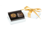 White Box with Gold Ribbon - Personalized Logo in Gold