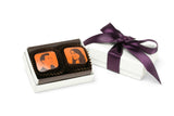 2 Piece Wedding Favor - White Box with Eggplant Ribbon