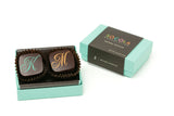 2 Piece Wedding Favor - Signature Aqua box with brown band. Monogram Letter Personalization