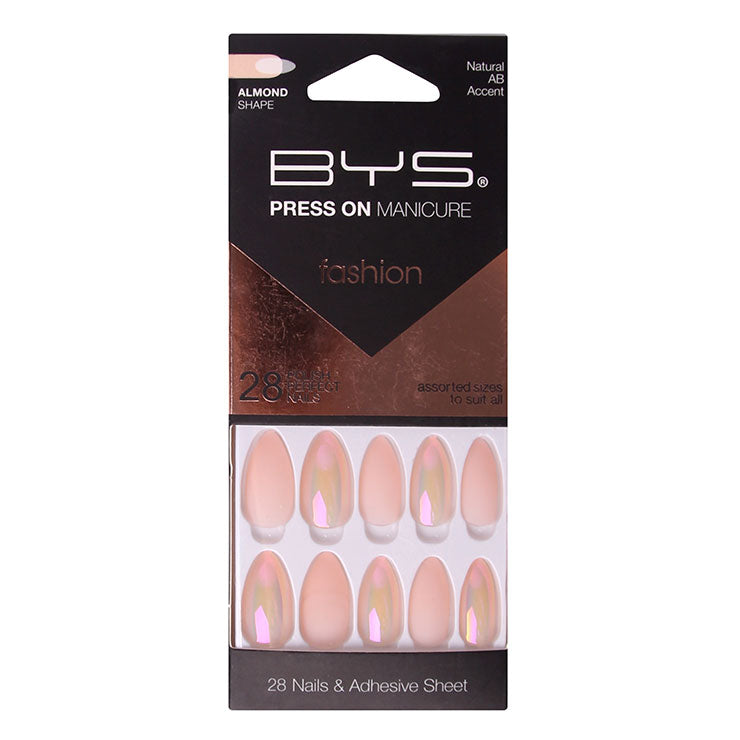 BYS - Press On Manicure 28pc Natural AB Accent Almond
