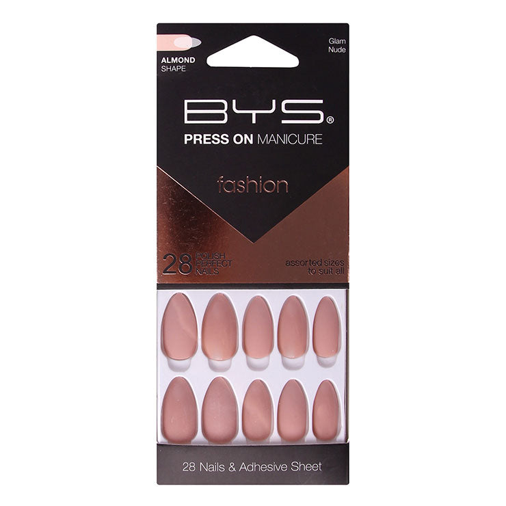 BYS - Press On Manicure 28pc Glam Nude Almond