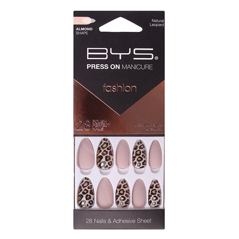 BYS - Press On Manicure 28pc Natural Leopard Almond