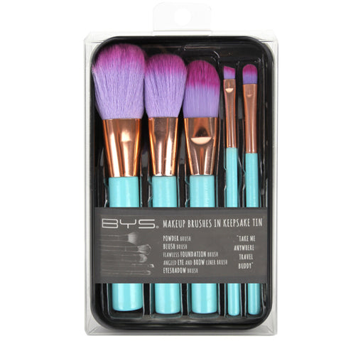 BYS - Makeup Brushes in Keepsake Tin Aqua