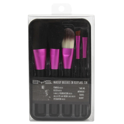 BYS - Makeup Brushes in Keepsake Tin Fuchsia