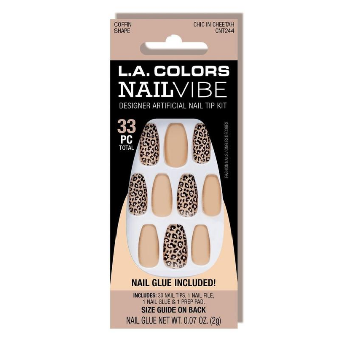 L.A. Colors - Nail Vibe Nail Kit Chic in Cheetah