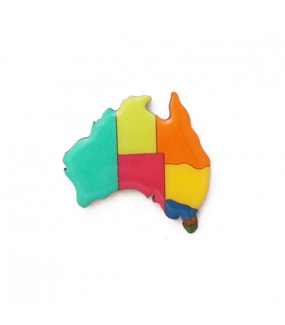 Brooch - Temperate Australia Map - Popcorn Street