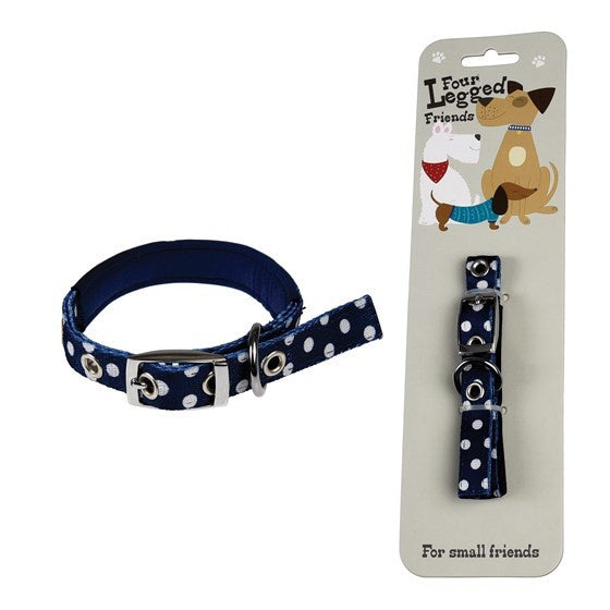 Small Dog Collar Blue Polka - Popcorn Street
