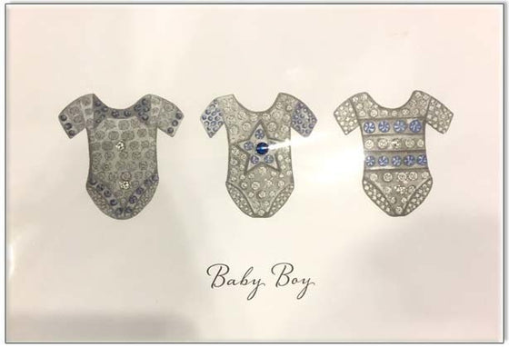 Bejewelled New Baby Card - Baby Boy