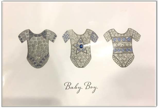 Bejewelled New Baby Card - Baby Boy - Popcorn Street