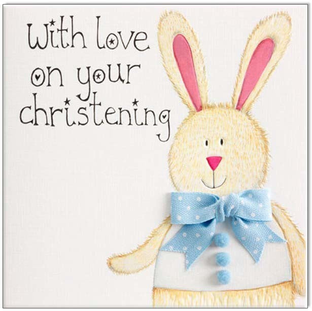 Baby Card - With Love On Your Christening - Blue Rabbit - Popcorn Street