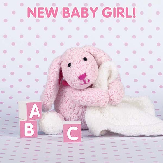 New Baby Girl Card - Pink Bunny