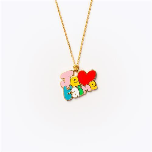 "Gold Plated Necklace Je T""Aime Letters - Popcorn Street"