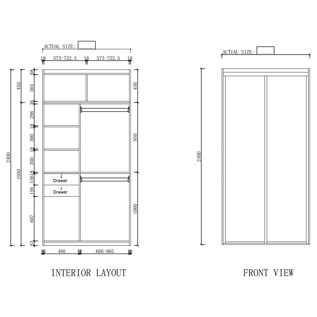 Type A - 1200mm ~ 1499mm Sliding Door Wardrobe