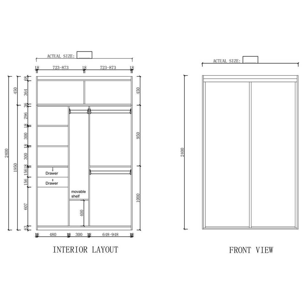 Type B - 1500mm - 1800mm Sliding Door Wardrobe