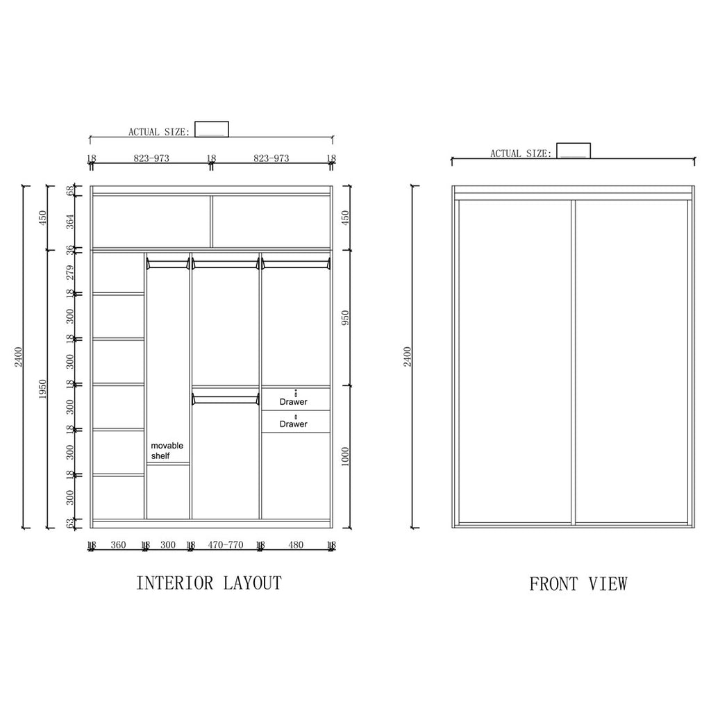 Type C - 1700mm - 2000mm Sliding Door Wardrobe