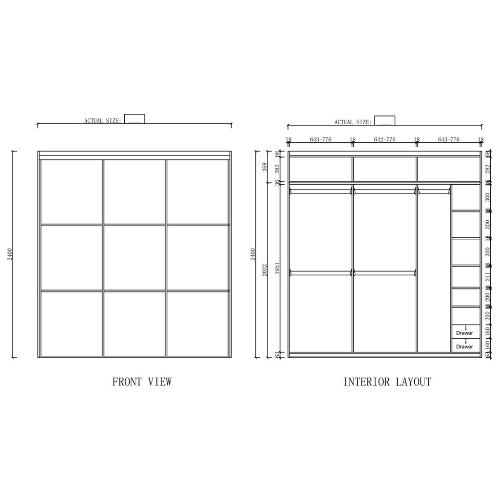 Type D - 2001mm ~ 2400mm Sliding 3-Door Wardrobe