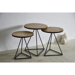 プリズム Purizumu Solid Wood Nesting Table Set (WIL-8117-ST) - Free Delivery - Inkagu - Shop Furniture Online