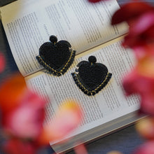 Load image into Gallery viewer, Lily Black Heart Studs