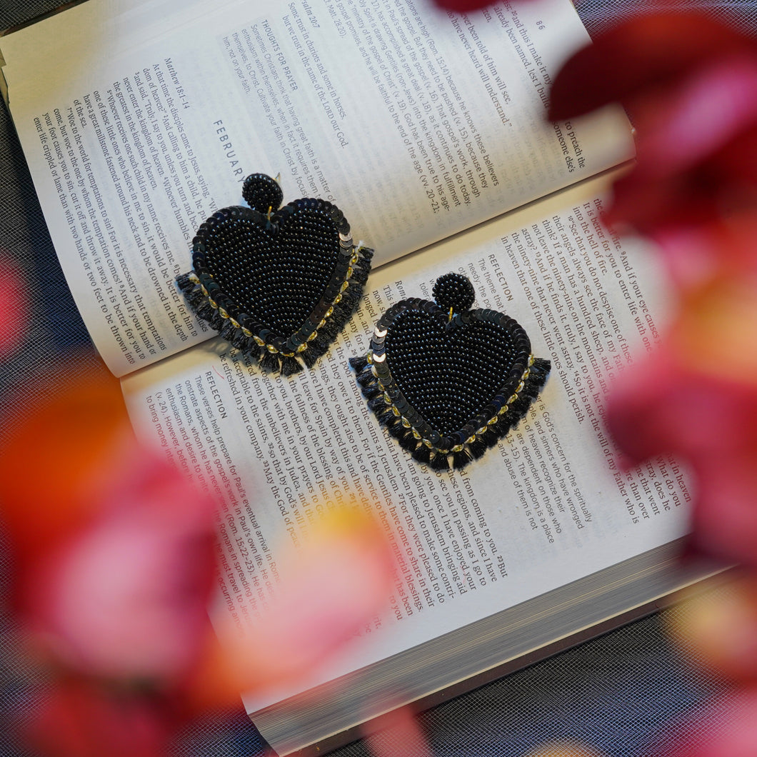 Lily Black Heart Studs