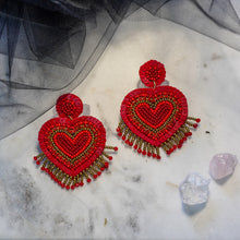 Load image into Gallery viewer, Tamara Red Heart Studs