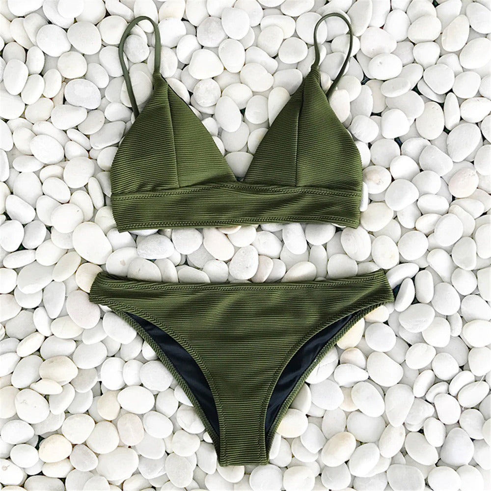 Quinn Army Green Triangle Bikini