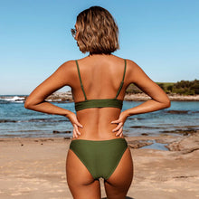 Load image into Gallery viewer, Quinn Army Green Triangle Bikini