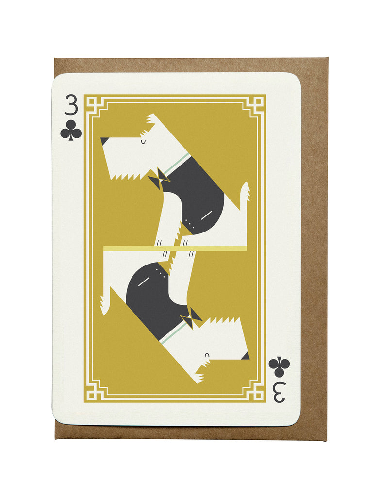 3 of Clubs A6 Greeting Card