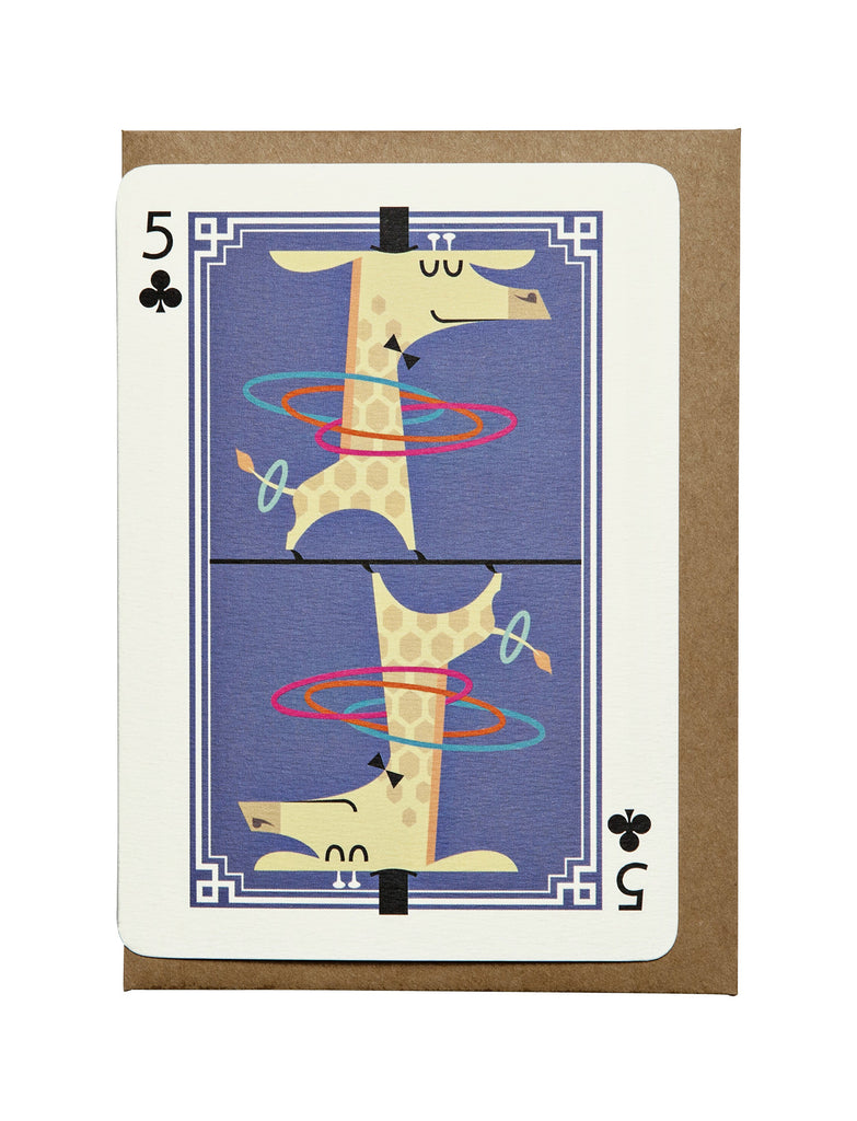 5 of Clubs A6 Greeting Card